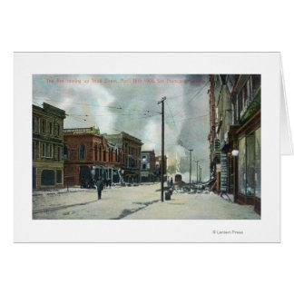 Fuego tercera Street que sube, terremoto 1906 Tarjeta De Felicitación