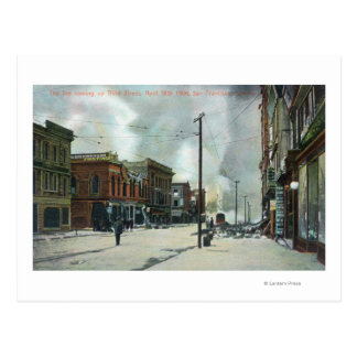 Fuego tercera Street que sube, terremoto 1906 Tarjeta Postal