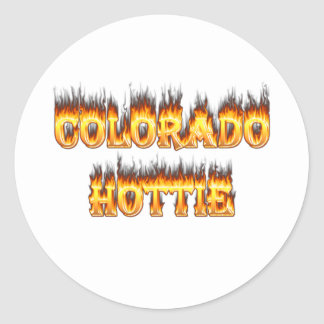 Fuego y falesm de Colorado Hottie Pegatina Redonda