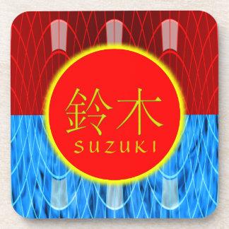 Fuego y hielo del monograma de Suzuki Posavasos De Bebidas