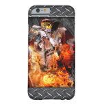 Fuego y humo del motocrós funda de iPhone 6 barely there