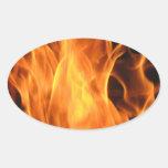 Fuego y llamas calcomanía oval personalizadas