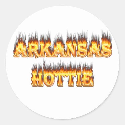 Fuego y llamas de Arkansas Hottie Pegatina Redonda