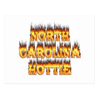 Fuego y llamas de Carolina del Norte Hottie Postal