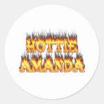 Fuego y llamas de Hottie Amanda Etiqueta Redonda