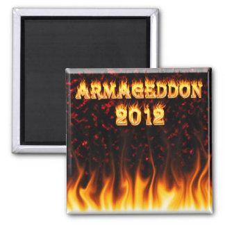 Fuego y llamas del Armageddon 2012 Imán Cuadrado