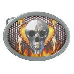 Fuego y llamas del diseño 4 del cráneo del cromo hebillas de cinturón
