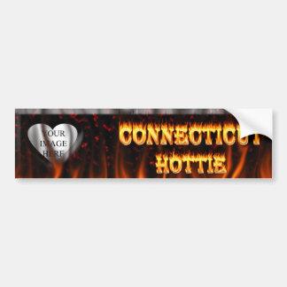 Fuego y llamas del hottie de Connecticut Pegatina Para Auto