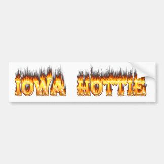 Fuego y llamas del hottie de Iowa Pegatina Para Auto