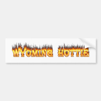 Fuego y llamas del hottie de Wyoming Pegatina Para Auto