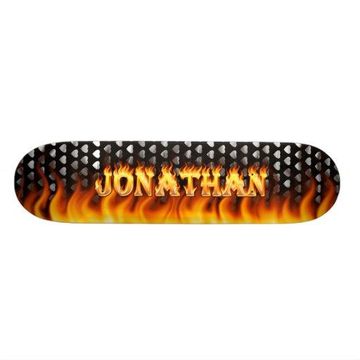 Fuego y llamas del monopatín de Jonatán