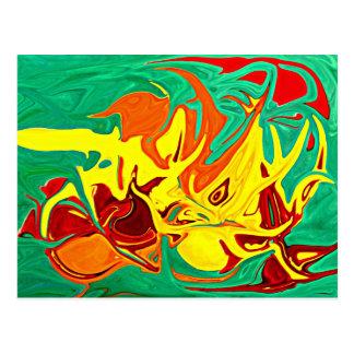 Fuego y postal del arte abstracto de las llamas
