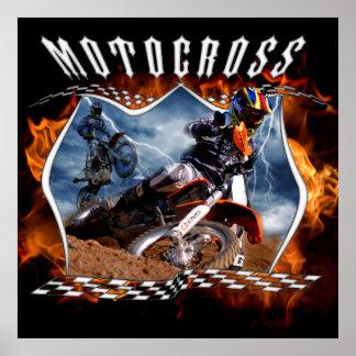 Fuego y relámpago del jinete del motocrós poster