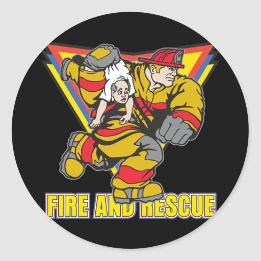 Fuego y rescate pegatina redonda