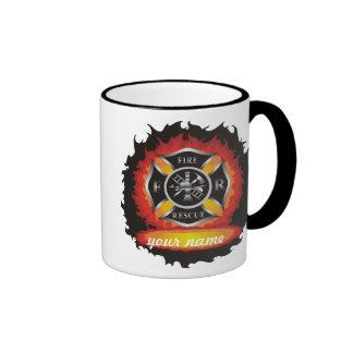 Fuego y rescate taza de dos colores