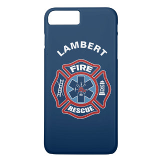 Fuego y rojo y azul del rescate funda iPhone 7 plus