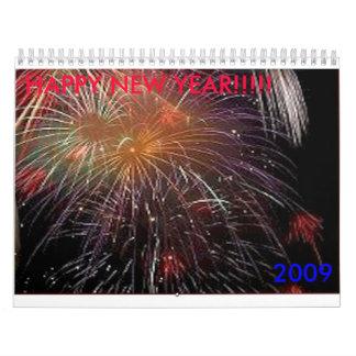 ¡fuegos artificiales 2009 FELIZ AÑO NUEVO Calendario
