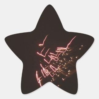 Fuegos artificiales 2 pegatina en forma de estrella