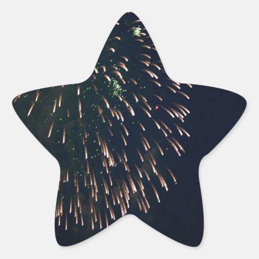 Fuegos artificiales abstractos Chandelere verde Pegatina En Forma De Estrella