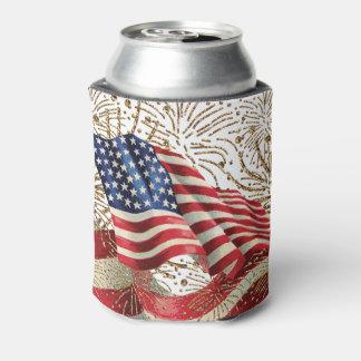 Fuegos artificiales americanos de la bandera y del enfriador de latas
