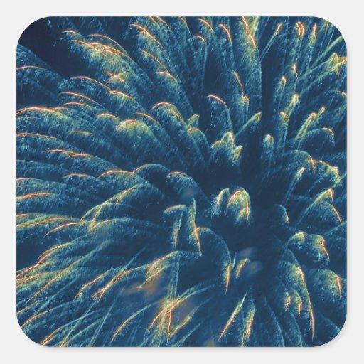Fuegos artificiales azules (3) pegatina cuadrada