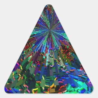 Fuegos artificiales AZULES de la chispa de Pegatina Triangular
