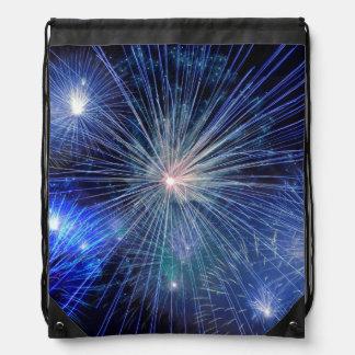 Fuegos artificiales azules festivos mochila