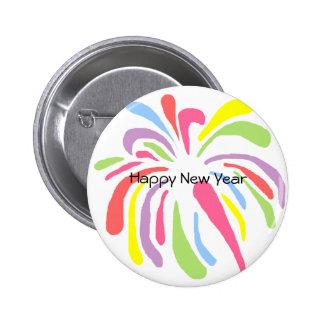 Fuegos artificiales, botón de la Feliz Año Nuevo Pin Redondo De 2 Pulgadas