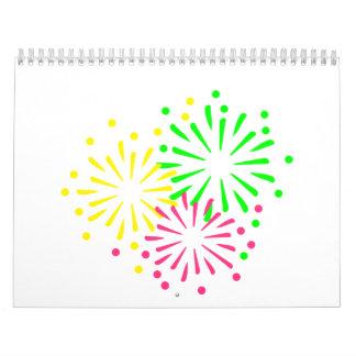 Fuegos artificiales coloreados calendario de pared