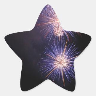 Fuegos artificiales coloridos de diversos colores pegatina en forma de estrella