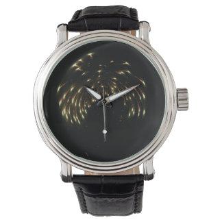Fuegos artificiales curvados reloj de mano