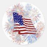 Fuegos artificiales de la bandera americana del pegatina redonda