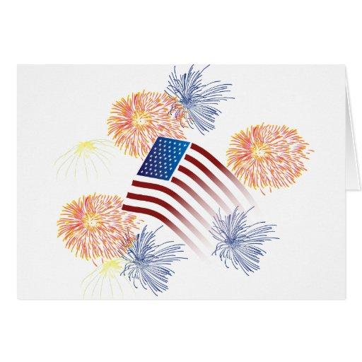 Fuegos artificiales de la bandera americana tarjeta de felicitación