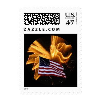 Fuegos artificiales de la bandera americana y del sellos