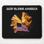Fuegos artificiales de la bandera americana y del  tapete de ratón