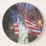 Fuegos artificiales de la bandera americana y esta posavasos personalizados