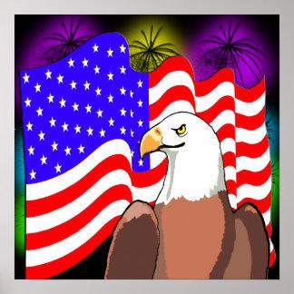 Fuegos artificiales de la bandera de Eagle Posters