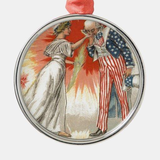 Fuegos artificiales de la bandera de señora Libert Ornamento De Navidad