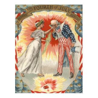 Fuegos artificiales de la bandera de señora tarjetas postales