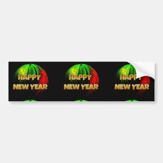 Fuegos artificiales de la Feliz Año Nuevo Pegatina De Parachoque