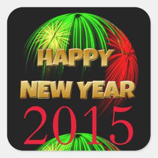 Fuegos artificiales de la Feliz Año Nuevo Pegatina Cuadrada