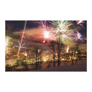 Fuegos artificiales de Noche Vieja en Niederau el  Impresión En Lienzo