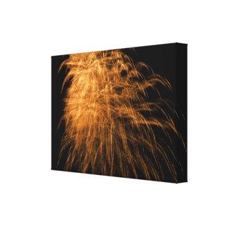 Fuegos artificiales de oro en lona impresiones de lienzo