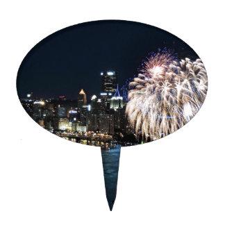 Fuegos artificiales de Pittsburgh Figura Para Tarta
