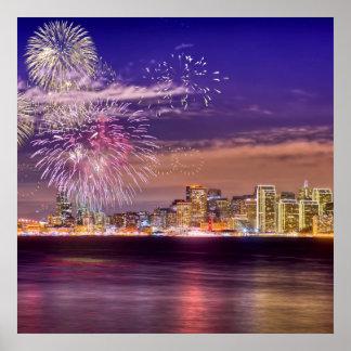 Fuegos artificiales del Año Nuevo de San Francisco Póster