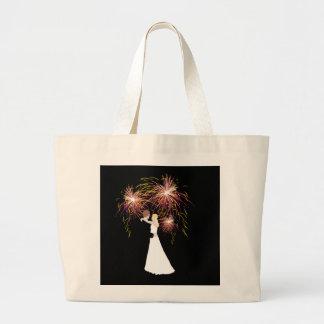 Fuegos artificiales del boda bolsa tela grande