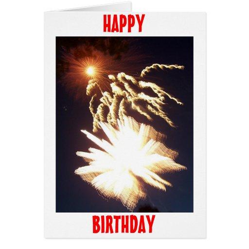 Fuegos artificiales del cumpleaños tarjeta de felicitación
