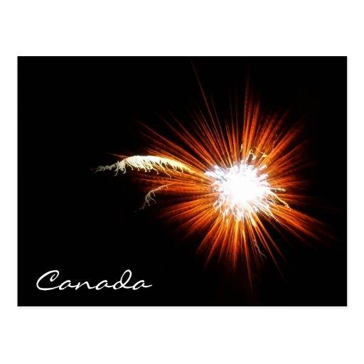 Fuegos artificiales del día de Canadá Tarjeta Postal
