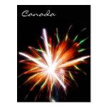 Fuegos artificiales del día de Canadá Tarjetas Postales