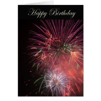 Fuegos artificiales del feliz cumpleaños tarjeta de felicitación